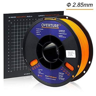 Overture PLA Plus (PLA+) Filament 2.85mm with 3D Build Surface 200 × 200mm, Premium PLA 1kg Spool (2.2lbs), Dimensional Accuracy +/- 0.05 mm (Orange)