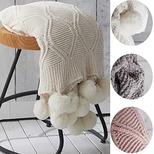 Gebreid gooi dekens, Chenille Pom Pom Fringe zachte pluche stoel slaapbank Deken gooi (50 * 62 inch),Beige