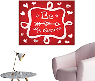 J Chief Sky Romantic Wall Sticker Decals Traditional Greeting Card Design with Abstract Heart Shapes and an Ethnic Arrow Poster Home Decoration W36 xL32