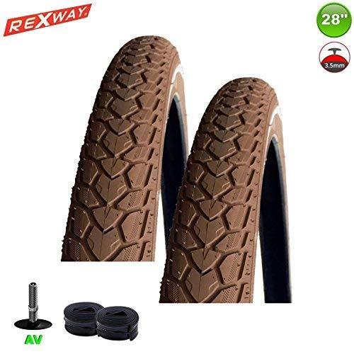 REXWAY 2 x Fahrradreifen Shopper + PS + Reflex Braun 37-622 - 28 x 1 5/8 x 1 3/8 + 2 Schläuche AV