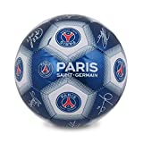 Paris Saint Germain FC PSG Officiel - Ballon de Foot avec Blason et Signature - Bleu avec Signature - Taille 1