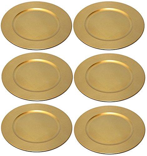 Platzteller Dekoteller 6 Stück Ø 33 cm gold Kunststoff
