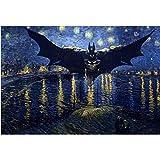 ONEZERT Gemälde nach Zahlen DIY 40x50 Batman in der Nacht Figur Leinwand Raumdekoration Kunst Bild Geschenk ungerahmt