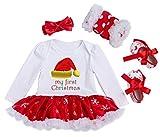 YK&loving - Set 4 Vestido Mangas Algodón de Dibujo Navidad + Calentador de Pierna Encaje + Zapatillas + Diadema para Fiesta Ceremonia Bebé Niña 3-6 Meses - M