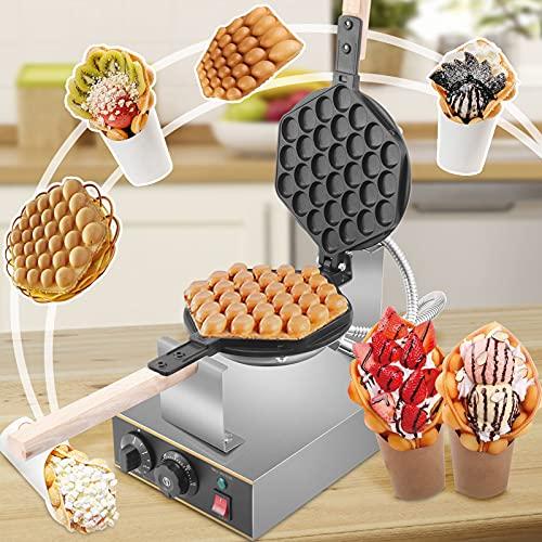 ETE ETMATE 1400W Bubble Waffle Maker, Revestimiento antiadherente Control de temperatura y tiempo ajustable giratorio de 180 °, Máquina eléctrica para hacer gofres de burbujas Eggettes