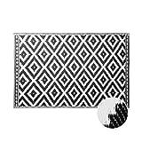 Butlers Colour Clash 180x120 cm Outdoorteppich Ethno - schwarz-weißer Teppich - für Innen-und Außenbereich - Muster aus Ornamenten