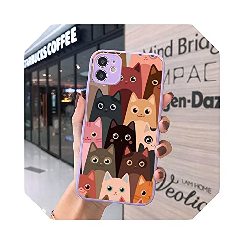 Lovely and Beautiful AnimalsCat Cute Kitten - Carcasa mate para iPhone 7, 8, 11, 12 s, Mini Pro X, XS y XR Max Plus Cover - A10-for iPhone