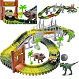 deAO Circuito de Coches en el Parque Jurásico Mundo de Dinosaurios Conjunto Incluye Vías Flexibles, Vehículo, Dinosaurios y Accesorios