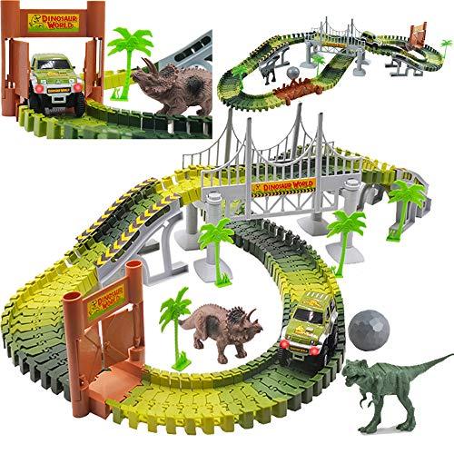 deAO geriffelte Autorennbahn Sets jurassischer Dino Welt Flexible Rennstrecke, Holzbrücke, Ball & Auto mit leichtem Spielset