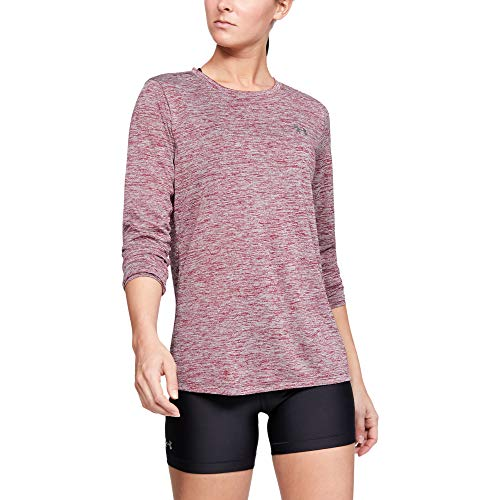 Under Armour Women's Tech Twist Crew Long-Sleeve T-Shirt, Level Purple (569)/Metallic Silver, X-Small -  Under Armour Apparel, 1307486-569-X-Small