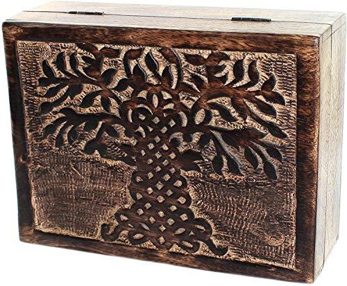 Budawi® - Holztruhe Lebensbaum Mangoholz Holzbox Holzkiste Schmuckkästchen