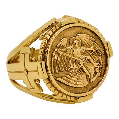 Saint St. Michael l'arcangelo realizzato a mano in oro massiccio 10 K, anello da uomo e Oro giallo (10 carati)., 28, cod. GG-012