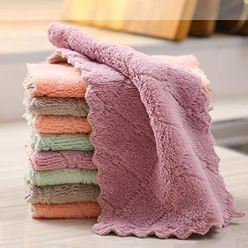RJMAC 5 trapos de limpieza de microfibra superabsorbentes para el hogar, toalla de cocina, aceite y polvo, paño de limpieza, 5 unidades de color aleatorio