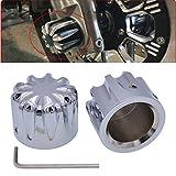 TUINCYN Juego de tapas de tuerca para motocicleta color negro para Harley XL883, XL1200, X48 Modelos CNC de corte profundo accesorios de decoración para eje delantero