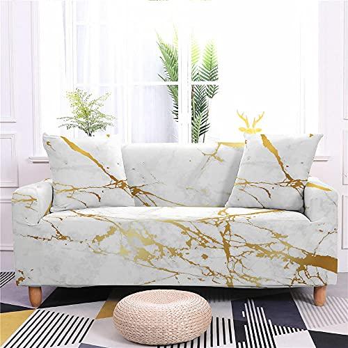 Funda de Sofá Elastica 4 Plazas Mármol Dorado Blanco 3D PoliéSter Spandex Universal Ajustable Cubre Sofas Antisuciedad Antideslizante Protector Cubierta Muebles con Cuerda de Fijación