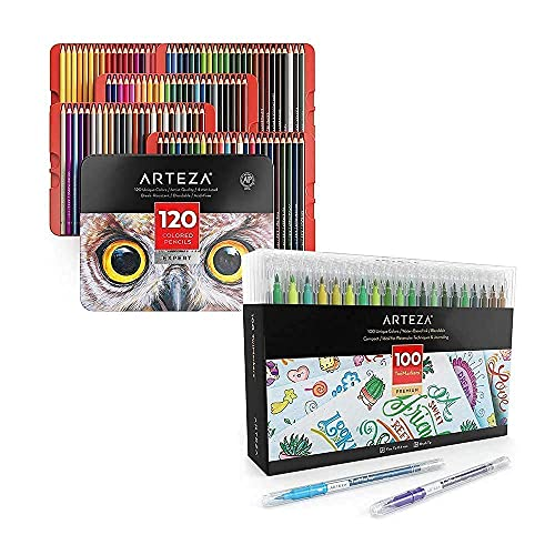 Arteza Colored Pencils and Dual Brush Pens TwiMarkers Bundle, Drawing Art Supplies for Artist, Hobby Painters & Beginners