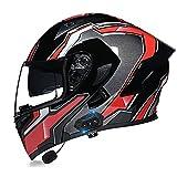 Casco Bluetooth para motocicleta, con Bluetooth, con visera doble antivaho, para hombres y mujeres, aprobado por ECE/DOT (color: E)