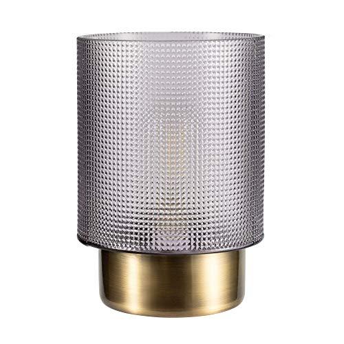 Pauleen 48133 Pure Glamour mobile Tischleuchte Glas Tischlampe Timerfunktion 6H Batterie Glaslampe ohne Kabel Rauchglas, messing Grau Glas/Metall