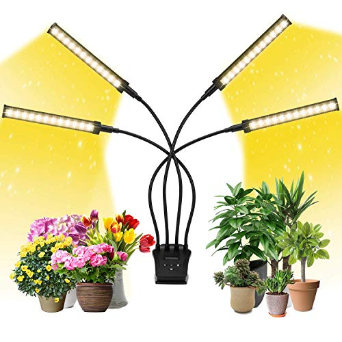 Grow Light, EZORKAS Full Spectrum Indoor Plant Grow Lights with LCD Display Timer, Adjustable Gooseneck, 0-24 Hours Timer, 4 Switch Modes, 10%-100% Brightness Setting