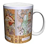 Alphonse Mucha Four Seasons (Les Saisons) Art Nouveau Ceramic Gift Coffee (Tea, Cocoa) 11 Oz. Mug