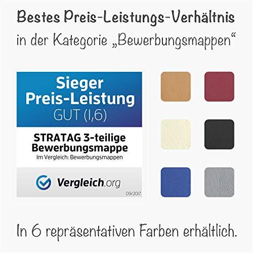 10 Stück 3-teilige Bewerbungsmappen Blau mit 2 Klemmschienen in feinster Lederstruktur - hochwertige Prägung ''BEWERBUNG'' - direkt vom Hersteller STRATAG - 6