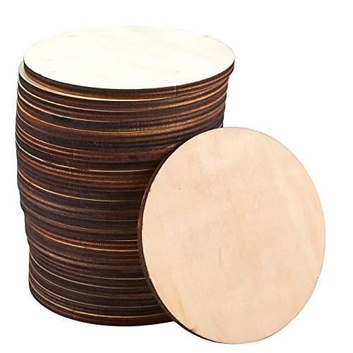 Posavasos de madera, 24 unidades, posavasos redondos de madera, posavasos de vaso de madera sin acabar, para cocina, oficina, 8,89 cm de diámetro.