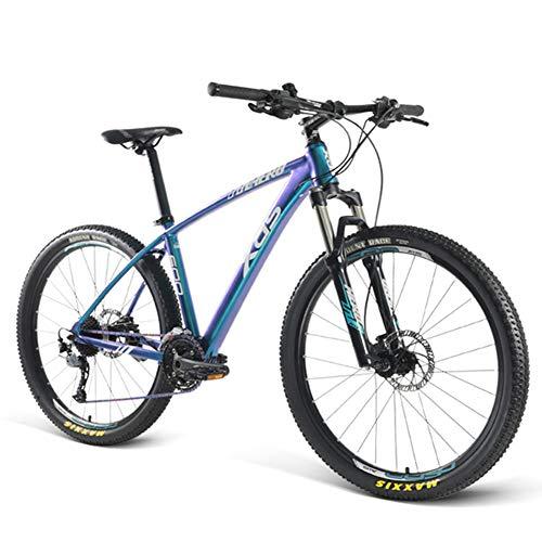 NENGGE Bicicleta Montaña 27.5 Pulgadas para Hombre Mujer, Ligero Portátil Adulto Hard Tail Bicicleta BTT 27 Velocidades, Profesional Bike Ciudad, Freno de Disco Hidráulico,Fog Blue Violet,A