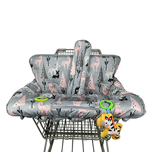 ICOPUCA Shopping Cart Cover, 2-in-1 cart Cover for Babies N high Chair Cover, Padded Grocery cart Cover for Baby boy Girl,with Split/Padded/Reversible seat Cushion, Large, Deer;