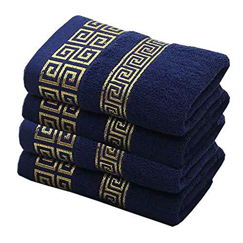 DLRBWAN Toallas de baño, 4 Juegos de Toallas de algodón Familiar, Toallas absorbentes Simples y cómodas, Conjuntos de Toallas adecuados para niños y Adultos (Color : Blue, Size : 4 Pcs34x74cm)