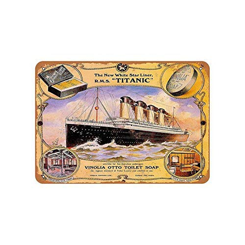 TSHOME Vinolia Soap On The Rms Titanic - Letrero de metal para decoración de pared, diseño retro y vintage, 20,3 x 30,5 cm