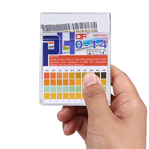 pH Test Strips 0-14, 0.5 Accuracy 100ct, Esee pH Strips pH Test Paper to Test Drinking Water, Food, Pools, Aquariums, Monitor Body pH Levels for Alkaline & Acid Using Saliva and Urine