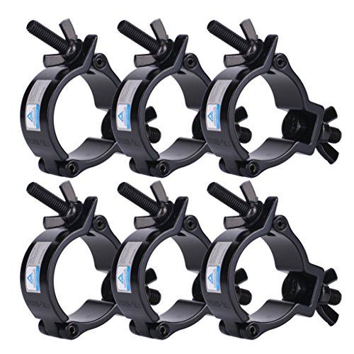 6 Pack Heavy Duty Aluminum Stage Lighting Mount (Black) 2 Inch Clamp for Moving Head Light/Par Light/Spotlight, Fits 48-51mm OD Tubing/Pipe, Max Load 220lbs