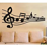 Abstract Big Music Note stave Self-Adhesive wallpaper wall Decal home decor Art Mural Stylish Broad-brush Stave Musical notes Transfer film wall sticker Girls Kids Children Room Bedroom Decoration DIY Poster Vinyl