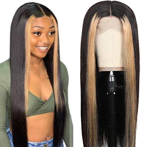 Beauty Forever 13x4 Highlight Straight Lace Front Wig Human Hair Wigs,180% Density Brazilian Ombre Color Pre Plucked with Baby Hair Lace Frontal Wigs for Black Women 12 Inch