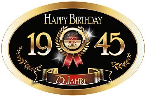 """""""Bester Jahrgang - 75 Jahre - Happy Birthday"""" Aufkleber Sektflasche Weinflasche selbstklebend"""