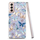 RXKEJI Galaxy S21 Case Clear Cute Girls Women Floral Design Slim Flexible TPU Bumper Hard Back Cover Protective Phone Case for Samsung Galaxy S21 5G 6.2 inch 2021 Butterfly Blue