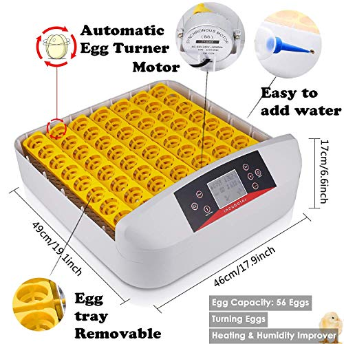 Sailnovo 56 Eier Inkubator Brutmaschine LCD Vollautomatisch Brutapparat Brutkasten für Hühner Geflügel (Nein LED)
