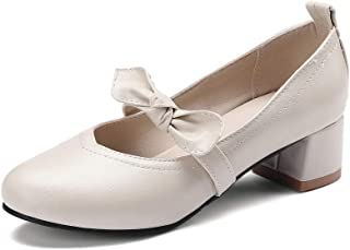 BalaMasa Womens Travel Solid Bows Urethane Pumps Shoes APL10586