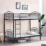 BonChoice 2 * 3FT Detachable Metal Bunk Bed Frames for Kids Children Adult, Twin Bunk Beds Black with Ladder Bedstead Bedroom Furniture