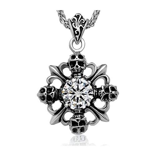 BOBIJOO Jewelry - Hanger Man Cross Fleur-de-Lis Roestvrij Staal Donkere Biker Gotische Diamanten Ketting