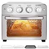 Schlo GTO23 Air Fryer Multifunction Toaster Oven Combo for Family with Baking Accessories and Recipe, 24Qt, Stainless steel