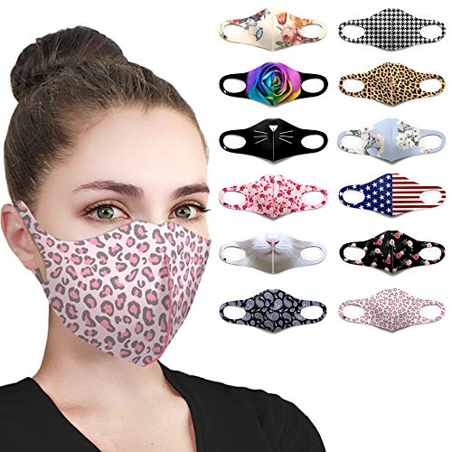 Pink Leopard Print Designer Face Mask Fashion Fabric Animal Cute Printed Patterns UV Protection Lightweight Breathable Washable Reusable Adjustable Cloth Cover Masks for Women Men Teens(Pink Leopard)