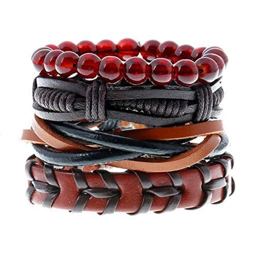 Neue Modeschmuck, Scpink Armband für Herren Retro Punk Rock Stil geflochten mit Hand Multilivell für Damen und Herren 17 x 1 x 1 cm Rosso + Nero