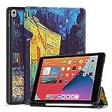 TNP Funda Compatible con iPad Air 8th 2020/7th 2019 10,2 Pulgadas, Carcasa Protectora Antigolpes de TPU con Función de Soporte para Lápiz y Auto-Sueño para Tabletas (Terraza de Café por la Noche)