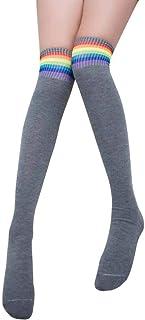 Señoras Amuster College Wind Men Girl Fashion Con Rayas 1 Estilo Simple Par Overknee Calcetines A Rayas Preciosas Primavera Otoño Elástico Moda Japonesa