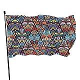 GOSMAO Bandera de jardín Boho sin Costuras de Flower Mandala Rhombus Color Vivo y Resistente a la decoloración UV Banner de Patio de Doble Costura Bandera de Temporada Bandera de Pared 150X90cm