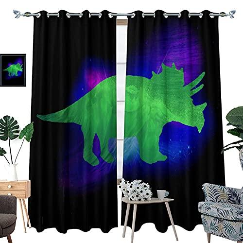 DRAGON VINES Triceratops - Cortinas con ojales, color verde dinosaurio, para dormitorio, 2 paneles, 107 x 160 cm