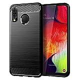 IGIDY Samsung Galaxy A20 case,Galaxy A30 Case,Soft TPU Slim Fashion Anti-Fingerprint Non-Slip Protective Phone Case (Black Brushed TPU)