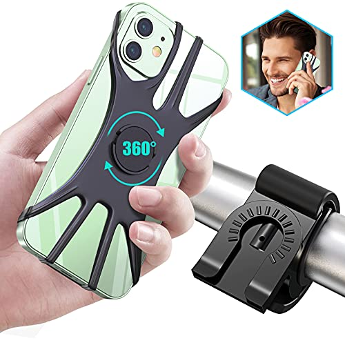Cocoda Soporte Movil Bici Desmontable, 360°Rotación Soporte Móvil Moto, Ajustable Soporte Teléfono Manillar Compatible con iPhone 12/12 Pro/12 Mini/iPhone 11 Pro Max/11 Pro/11, Samsung(4.0'-6.5')