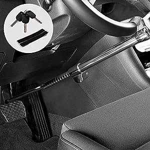 Kohree Cerradura del Volante Antirrobo retráctil Barra Antirrobo Coche Universal Antirrobo Coche Volante Pedal Blindaje Bloqueo Freno Embrague Pedal Cierre Alta Seguridad Fuerte con 3 Llaves